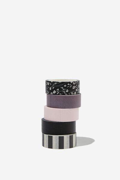 Washi Tape 5Pk, BLACK MEADOW DITSY