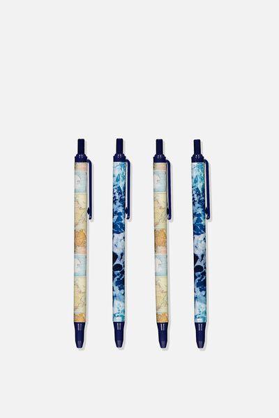 Printed Pen Black 4Pk, MAP & WAVES