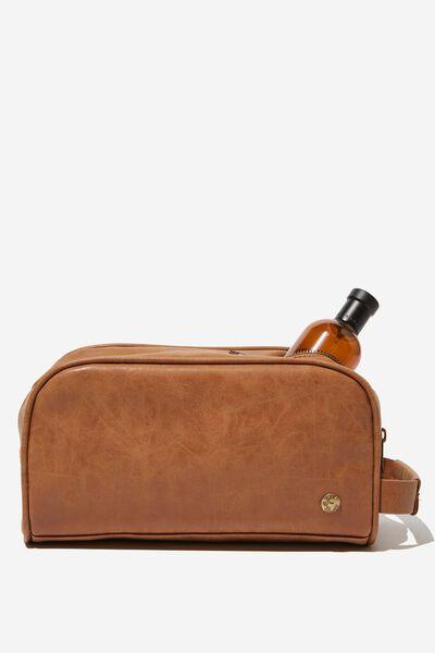 Double Zipper Wash Bag, MID TAN