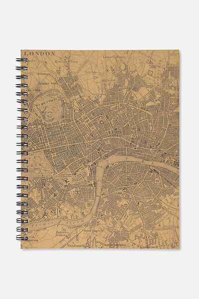 A4 Campus Notebook - 240 Pages, LONDON CRAFT MAP