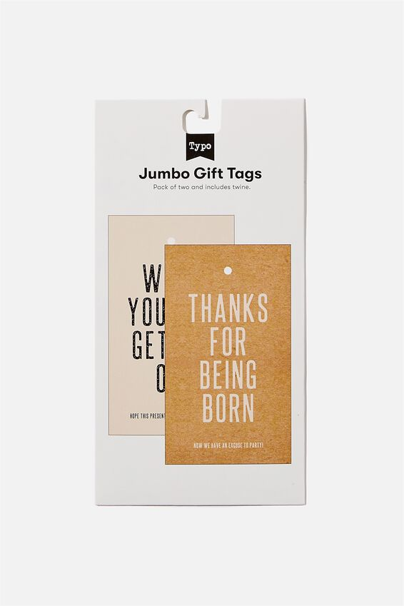 Jumbo Gift Tag Pack, BEING BORN GETTING OLD