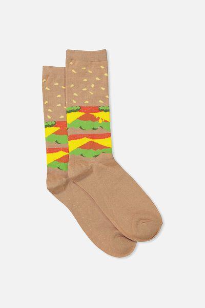 Mens Novelty Socks, BURGER LAYERED