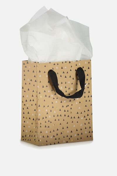 Small Gift Bag with Tissue Paper, TRIANGLE POLKA