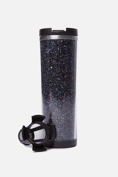 Tea-Riffic Travel Mug, BLACK GLITTER