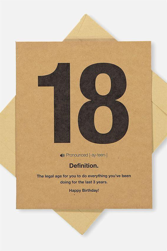 Age Card, 18 DEFINITION!