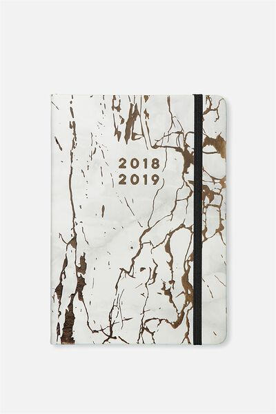 2018 19 Financial Year A5 Weekly Buffalo Diary, MARBLE