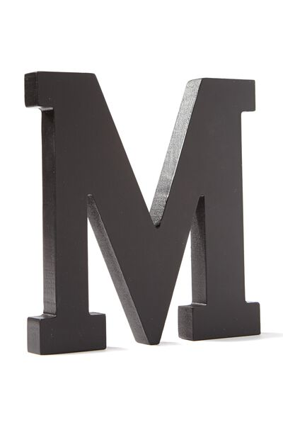 Letterpress Wooden Letter, BLACK M