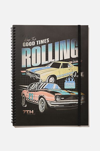 A4 Spinout Notebook Recycled, RETRO CAR VIBES