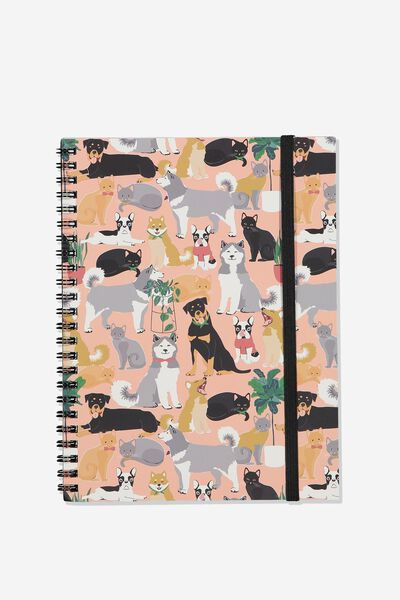 A5 Spinout Notebook - 120 Pages, HERE FOR THE DOGS