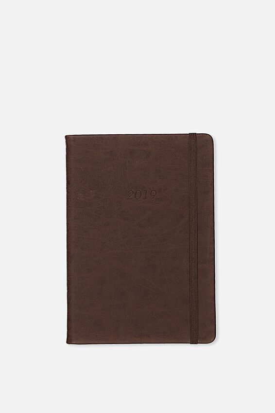 2019 A5 Weekly Buffalo Diary, VINTAGE TAN