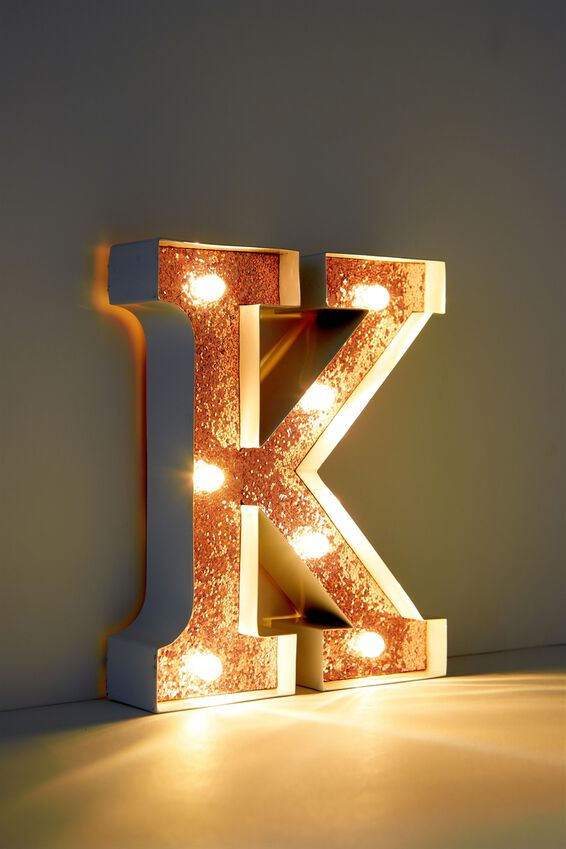 Marquee Letter Lights Premium 6.3inch Midi, WHITE WITH ROSE GOLD K