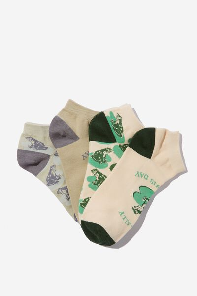 4 Pack Of Ankle Socks, FROGS (M/L)