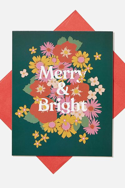 Christmas Card 2020, MERRY AND BRIGHT FLORAL