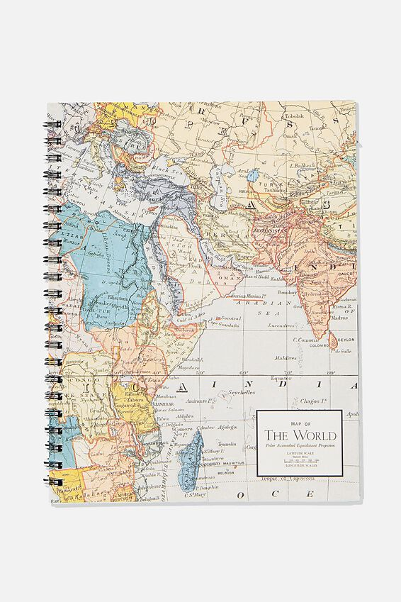 A4 Campus Notebook Recycled, WORLD MAP