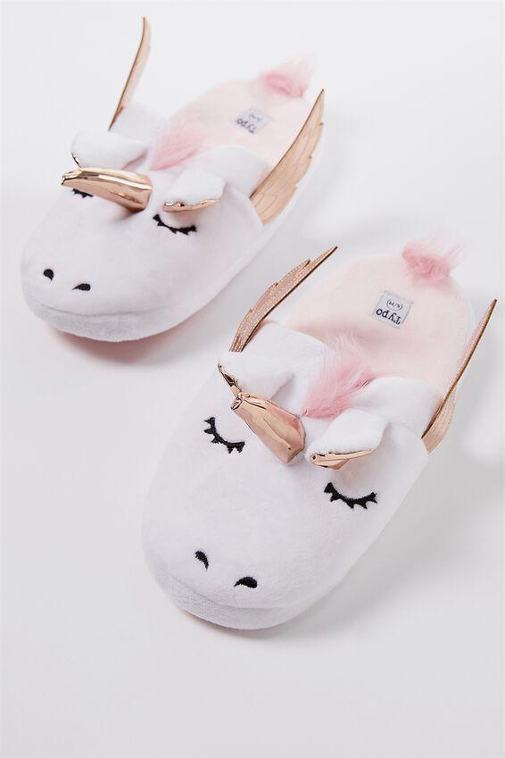 Novelty Slippers, WHITE UNICORN