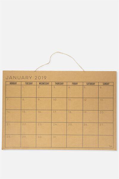2019 A1 Wall Calendar, KRAFT
