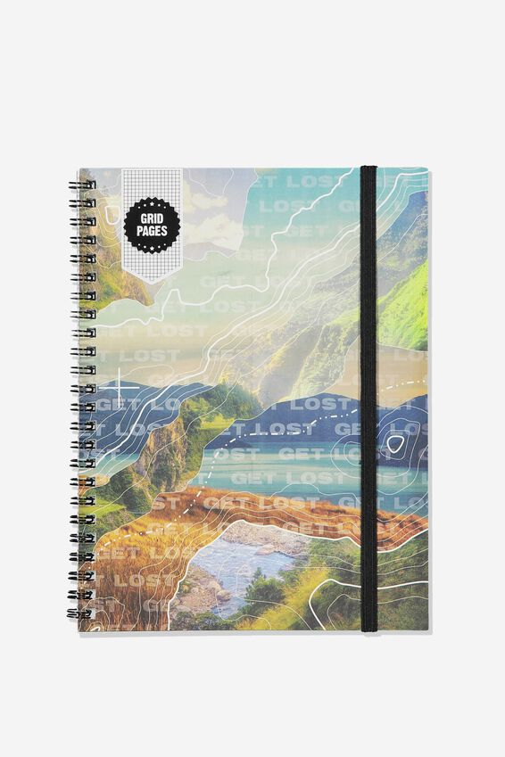 A5 Spinout Notebook Grid Page, DIGITAL MOUNTAIN