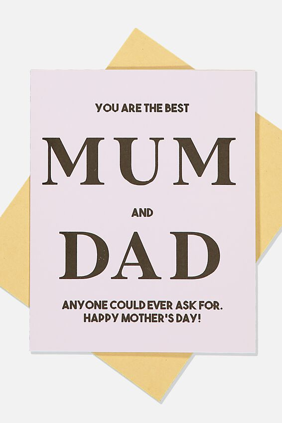 Mothers Day Card, BEST MUM AND DAD