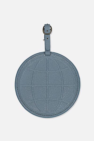Shape Shifter Bag Tag, PETROL BLUE GLOBE