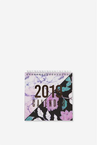 2019 Flip Desk Calendar, MARBLE & FLORAL