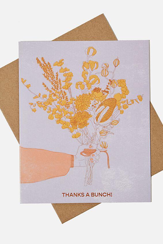 Thank You Card, THANKS A BUNCH MANGO LILAC