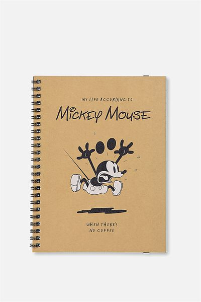 A5 Spinout Notebook - 120 Pages, LCN MICKEY MOUSE B&W SKETCH