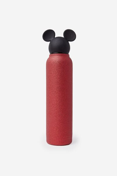 Premium Small Metal Drink Bottle, LCN MICKEY RED GLITTER