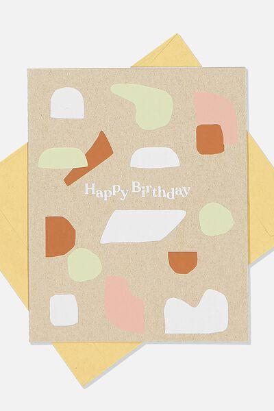 Nice Birthday Card, GREY CRAFT ABSTRACT SHAPES