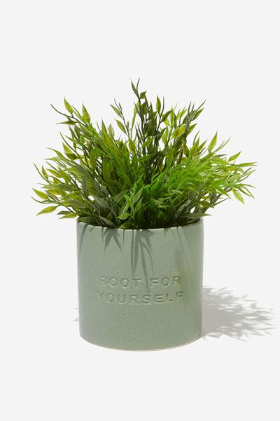 Midi Shaped Planter, ROOT FOR YOURSELF GUM LEAF SPECKLE