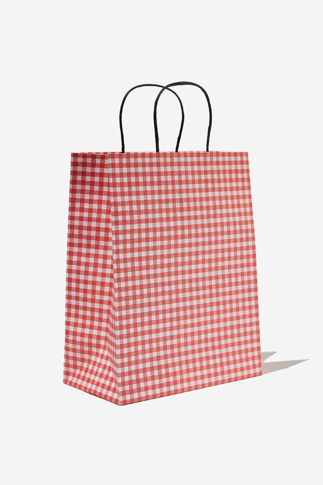 Get Stuffed Gift Bag - Medium, TRUE RED GINGHAM