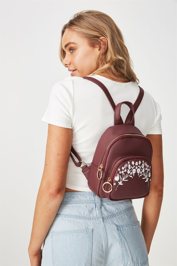 Mini Madrid Backpack, BURGUNDY WITH FLOWER