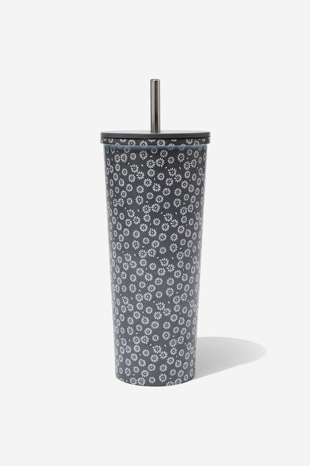 Metal Smoothie Cup, STAMPED DAISY GREYSCALE