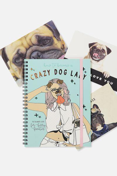 Small Spinout Notebook Usa 8X6, CRAZY DOG LADY