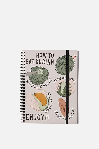 A5 Spinout Notebook Recycled, DURIAN HOW TO EAT