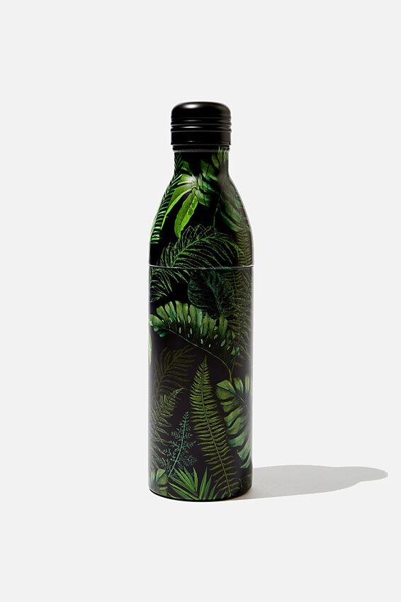 Two Piece Metal Drink Bottle, BLACK FERN FOLIAGE