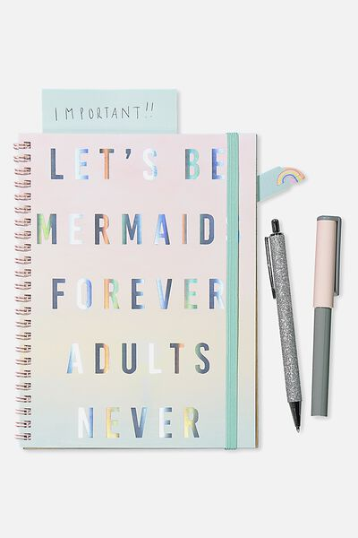 Small Spinout Notebook Usa 8X6, MERMAIDS FOREVER ADULTS NEVER