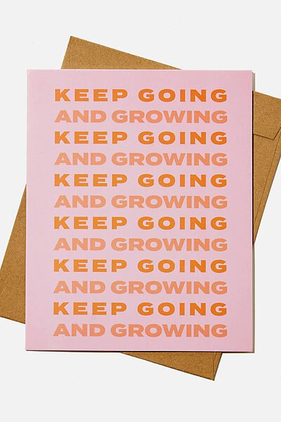 Blank Card, KEEP GOING AND GROWING PINK
