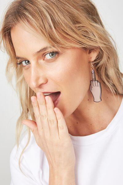 Premium Novelty Earrings, FINGER