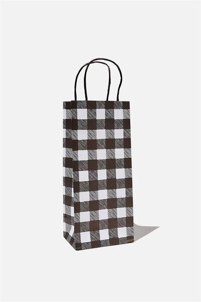 Bottle Gift Bag, BLACK AND WHITE GINGHAM