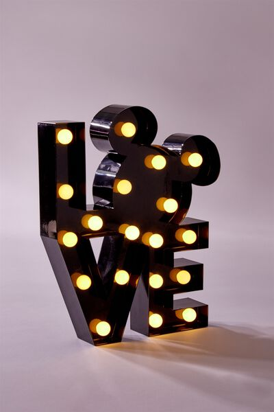 Shaped Small Marquee Light, LCN MICKEY LOVE BLACK