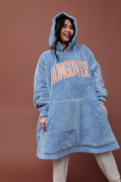 Slounge Around Oversized Hoodie, HUNGOVER BLUE