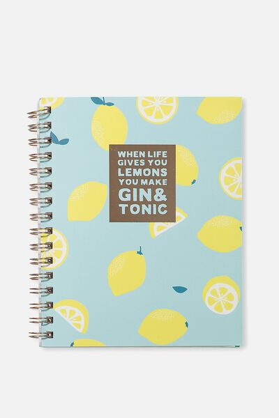 Medium Campus Notebook - 240 Pages, GIN & TONIC LEMONS!