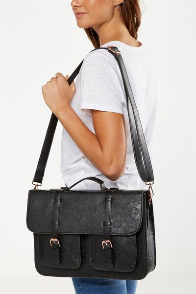 On Duty Satchel, BLACK FLORAL EMBOSSED