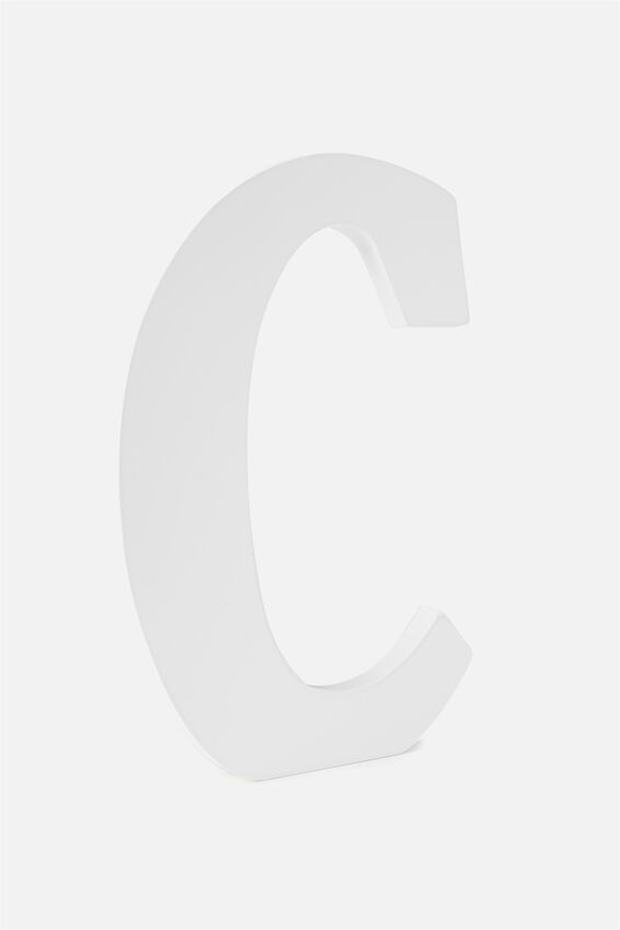 Large Letterpress Letter, WHITE C