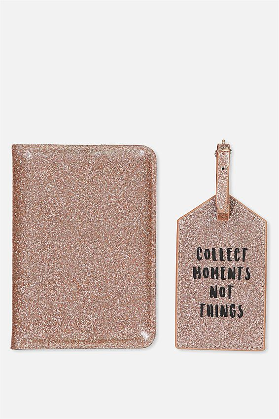 Passport Holder & Luggage Tag Set, ROSE GOLD GLITTER
