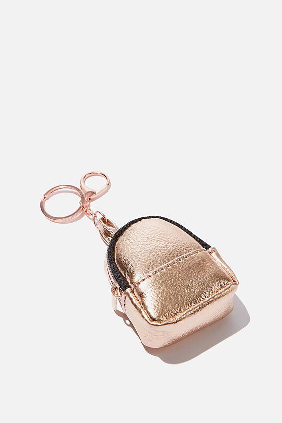 Bag Charm, PLUSH ROSE GOLD MINI BACKPACK