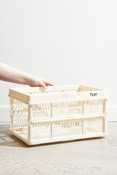 Large Foldable Storage Crate, ECRU