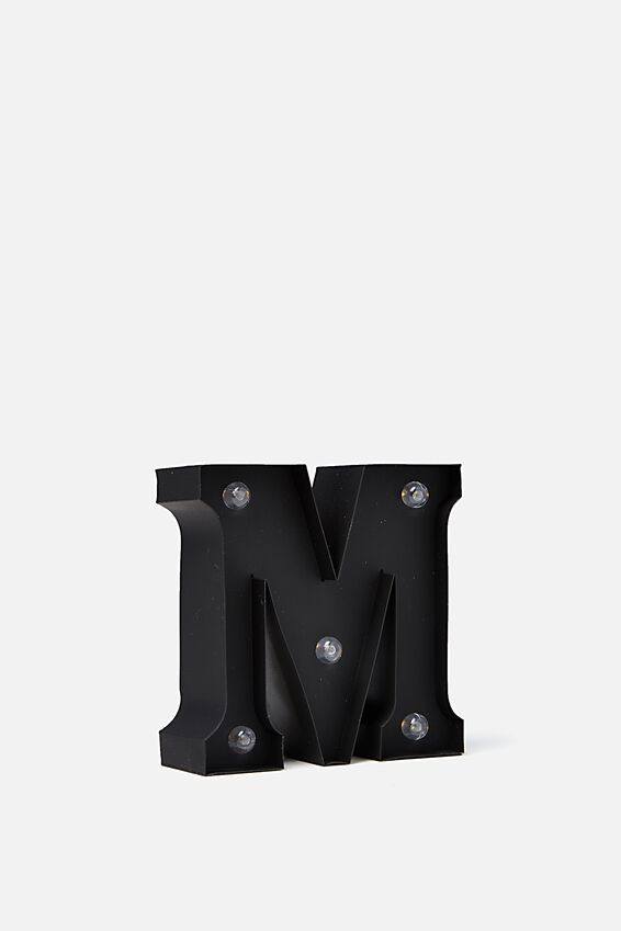 Mini Marquee Letter Lights 10cm, BLACK RUBBER M