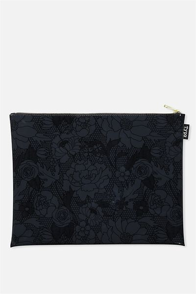 Printed Document Wallet, BLACK FLORAL LACE