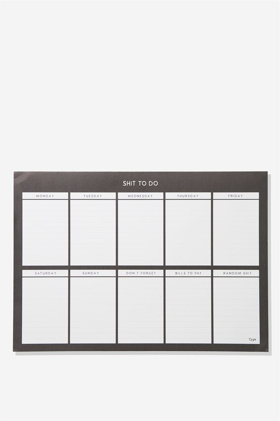 A3 Plan Ahead Planner, BLACK SHIT TO DO!
